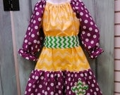 Mardi Gras Peasant Dress in Purple, Yellow, and Green with fleur de lis