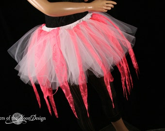 Coral Fairy ragged tutu adult skirt custome dance halloween cosplay white UV rave lace run race gogo -You Choose Size -- Sisters of the Moon