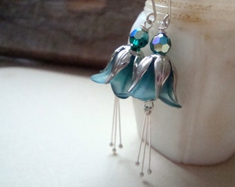 Teal and Silver Blossom Earrings Holiday Jewelry  Bridal Jewelry Flower Jewelry Bridesmaid Earrings Weddings Nature Inspired  Floral