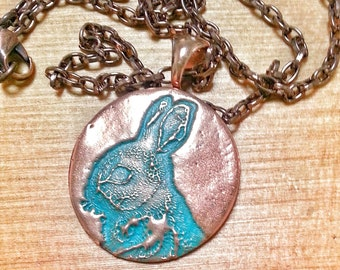 "Green patina copper metal bunny imprinted pendant, round circle, 1 1/4"" diameter with copper chain, handmade maureen gallagher jewelry"
