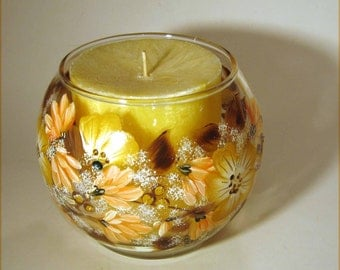 Earth Tone Floral Hand Painted Candle Holder