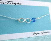 Daughter's Sapphire Birthstone Love Infinity Charm Pendant Layered Necklace, customized Her Birthday Christmas Friendship Gift made in NY