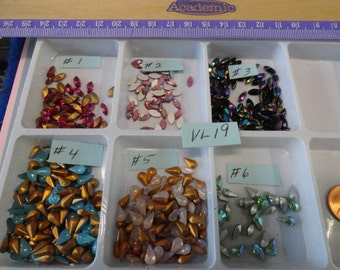 Choose your 8 by 4 mm Pear or Navette Vintage Glass Stones VL 19