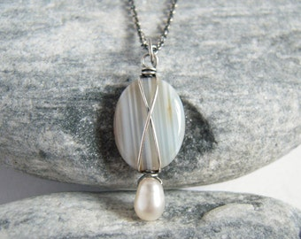 Pendant On Sale - Natural Agate White Pearl Sterling Silver, Or Necklace
