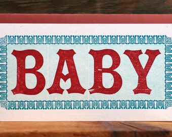 Baby red and teal letterpress card