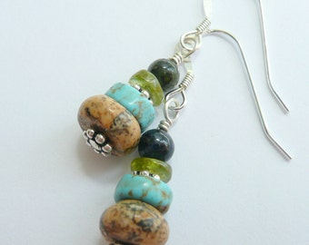 Rustic Western Jasper Turquoise Peridot Blue Goldstone Sterling Silver OOAK Boho Dangle Earrings
