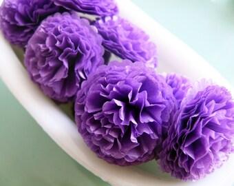 Button Mums Tissue Paper Flowers  1 inch Grape Purple  Wedding, Bridal Shower, Baby Shower Decor