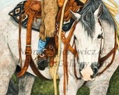 Western Art, Horse Art - The Better Half - Western Horse Print, western decor, horse painting, horse gifts, horse decor, cowboy art, cowboy