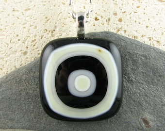 Black, White and Ivory Fused Glass Pendant.  Bullseye Design.  Fused Glass Jewelry.  Modern Jewelry.  Handmade in Texas.