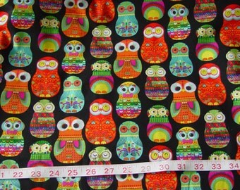 Nesting Matryoshka Russian Owls Dolls Fabric - 2 yards