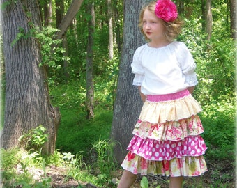 Ruffle Skirt Sewing Pattern Tutorial ebook -- Ruffled Up Skirt -- sizes 6m through 16 Girls PDF Instant