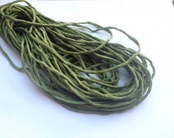 Olive Green Silk Cord, Dyed in the USA