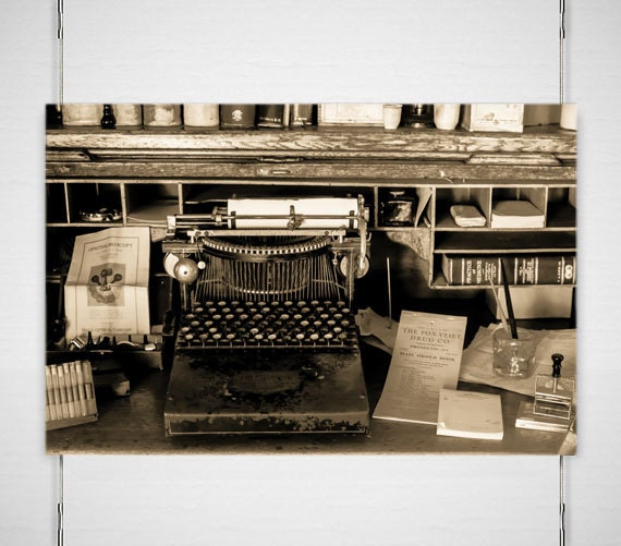 Rustic Photography, Vintage Typewriter Photo, 19th Century Doctors, Gothic  Wall Art, Office Decor, Sepia Photography, Black And White Photo