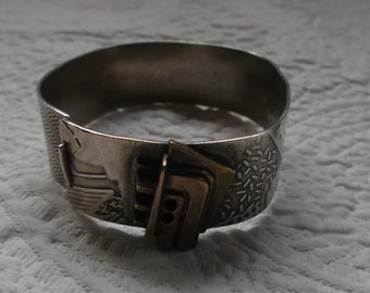 Mid-Century Modern Artisan Made Sterling Silver and Bronze Bracelet  SIGNED