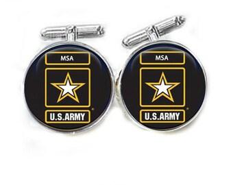 Army Cufflinks, personalized cufflinks, initials cufflinks, US Army cufflinks, gift for men father, army military cufflinks