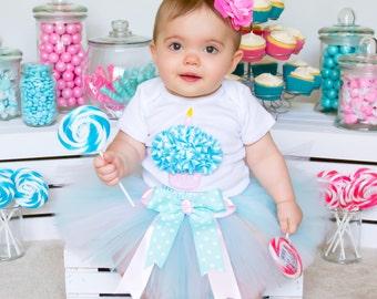 First Birthday Tutu Set - Baby Girl Tutu - Birthday Outfit - Cupcake Tutu - Aqua & Pink Tutu - Cake Smash Dress