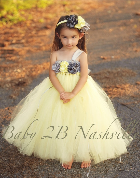 Wedding Dress Flower Girl Dress  Yellow Dress Silver Dress Tutu Dress Tulle Dress Baby Dress Toddler Dress Party Dress Birthday Dress