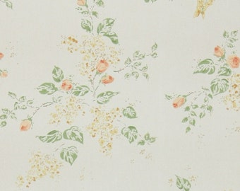 1950's Vintage Wallpaper - Floral Wallpaper with Peach Orange Rosebuds on White