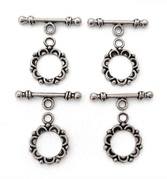 4 (sets) Bali Style Silver Toggle Clasps Antique Silver Plated Flower Floral Loop and Bar Single Strand Bracelet Necklace Closure TS271B