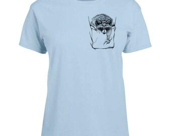 Ladies T-shirt Raccoon in Pocket Art Sizes XS-2X