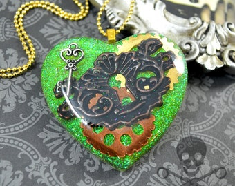 GAURDED- Steampunk key, Brass keyhole and Gears -  Resin Heart Necklace in Iridescent Neon Green Glitter