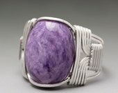 Charoite Wire Sterling Silver Wrapped Cabochon Ring - Made to Order and Ships Fast!