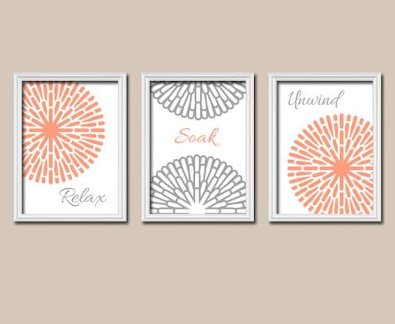 Coral gray bathroom wall art canvas or prints by trmdesign for Gray wall art for bathroom