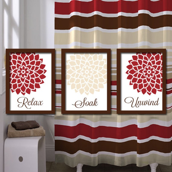 Red beige bathroom wall art canvas or prints bathroom by for Red and brown bathroom sets