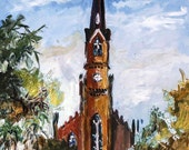 SALE Church Charleston South Carolina St Matthews Lutheran Oil Painting
