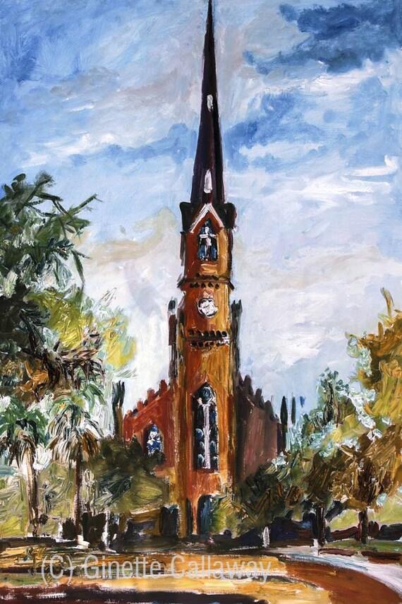 SALE Church Charleston South Carolina St Matthews Lutheran Oil Painting
