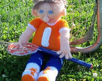 Custom lacrosse knitted sports doll