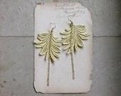 boho earrings // MARTINE // wheat beige gold lace earrings,  feather / leaf, modern, nature / festival style / boho / handmade by White Owl