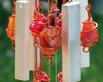 August Birthstone Sardonyx Windchime with Recycled Aluminum and Copper Wrapped Ruby Red & Iridescent Black Glass Marbles