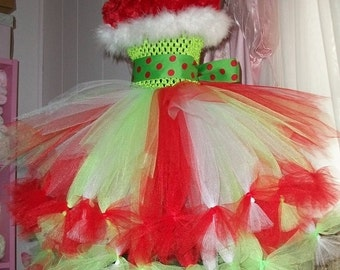 Adorable Christmas Tutu Dress The Grinch Themed Sizes Newborn to Girls 12 Pageant Winner