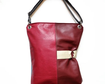 Leather Crossbody Bag / Work Bag / Leather Laptop Bag / Shoulder Bag - The Luella Bag in Raspberry and Burgundy