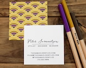 square personalized business calling cards scallop pattern in golds and bronze - set (50)