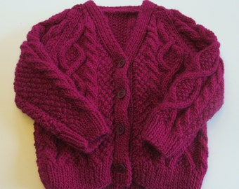 Childs Cardigan, Handknit Sweaters. Baby, girls, wool, 2 year, Berry Purple, Irish, Aran. Handmade Sweaters by Felted Friends