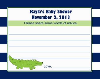 24 Personalized Baby Shower Advice Card -  Little Alligator