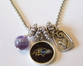 """Custom Team Charm Necklace, Choose any nfl, mlb, nhl, nba, College or School Team, Choose  lengths from 16"""" to 24"""""""