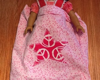 American GIrl Sleeping Bag...You choose the fabric and applique