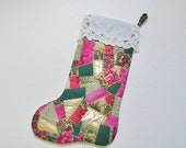 Christmas Stocking Crazy Quilt Green Pink Gold
