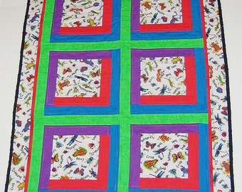 Quilted Baby Blanket Bugs Red Blue Green