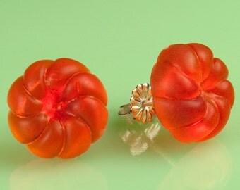 Vintage Orange Lucite Gumdrop Button Post Earrings