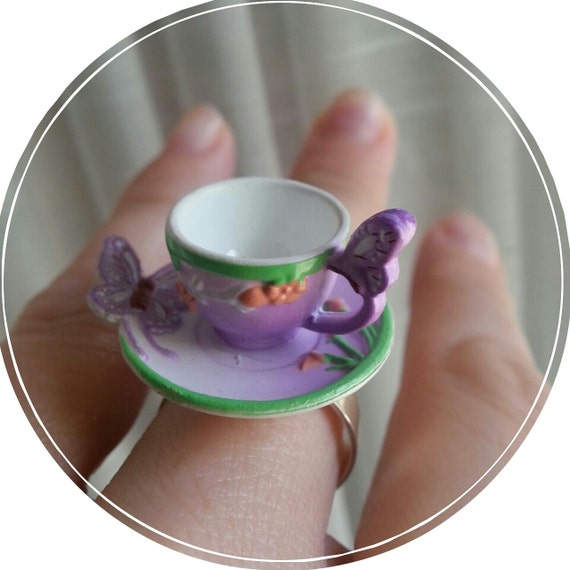 Lavender Butterfly Fairy Tale Tea Cup Ring Fantasy Statement Rings