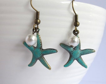 StarFish and White Swarovski Pearls Dangle Earrings. Hand Painted Blue Patina Star Fish Antiqued Brass Ear Accessories