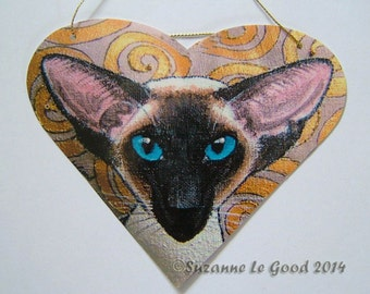 SEALPOINT SIAMESE CAT heart-shaped painting sign by Suzanne Le Good