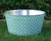 Seafoam Green Vintage Bandana Large Round Galvanized Party Ice Tub