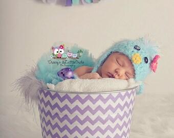 Easter Egg Hunt Basket Lavender Purple and White Chevron Galvanized Beach Bucket