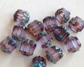 Alexandrite Blue Brown Cathedral Czech Glass beads  6mm FACETED.  Gb467 (10)