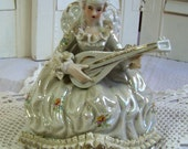 Gorgeous Victorian Lady Playing a Mandolin - All Done in Pearl Essence and China Lace